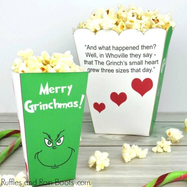 grinch decoration diy popcorn box