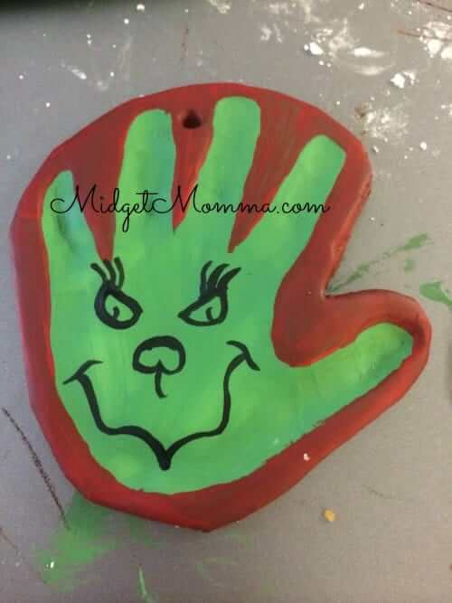 grinch hand print ornament