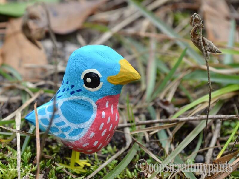 painted wooden bird craft diy