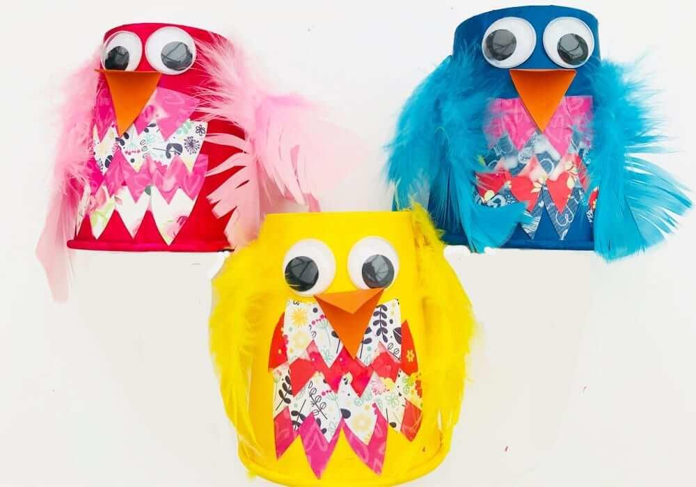 paper cup birds crafts