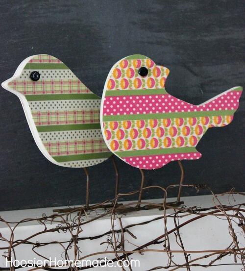 wooden bird craft diy washi tape
