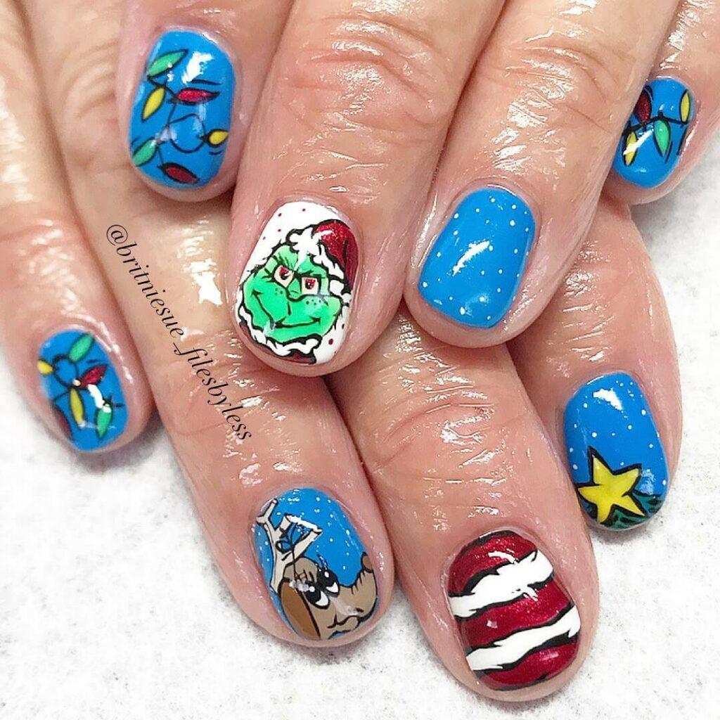 Grinch-nail-design-idea blue
