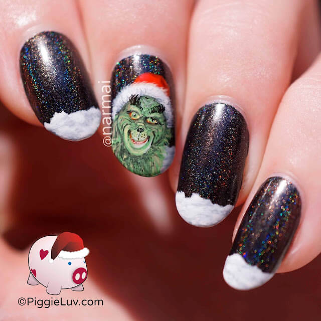 black grinch nails christmas