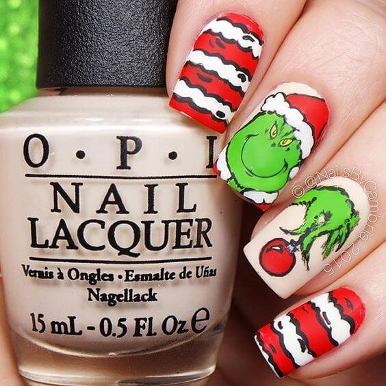 christmas grinch nails red and white