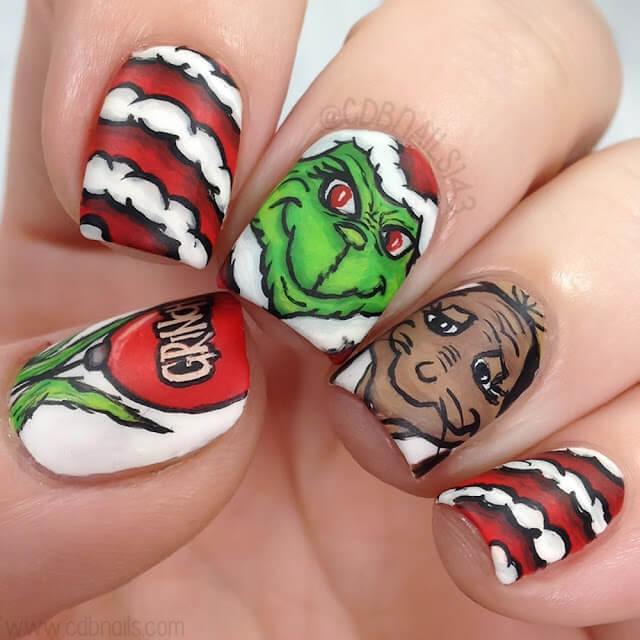 free hand nail art grinch