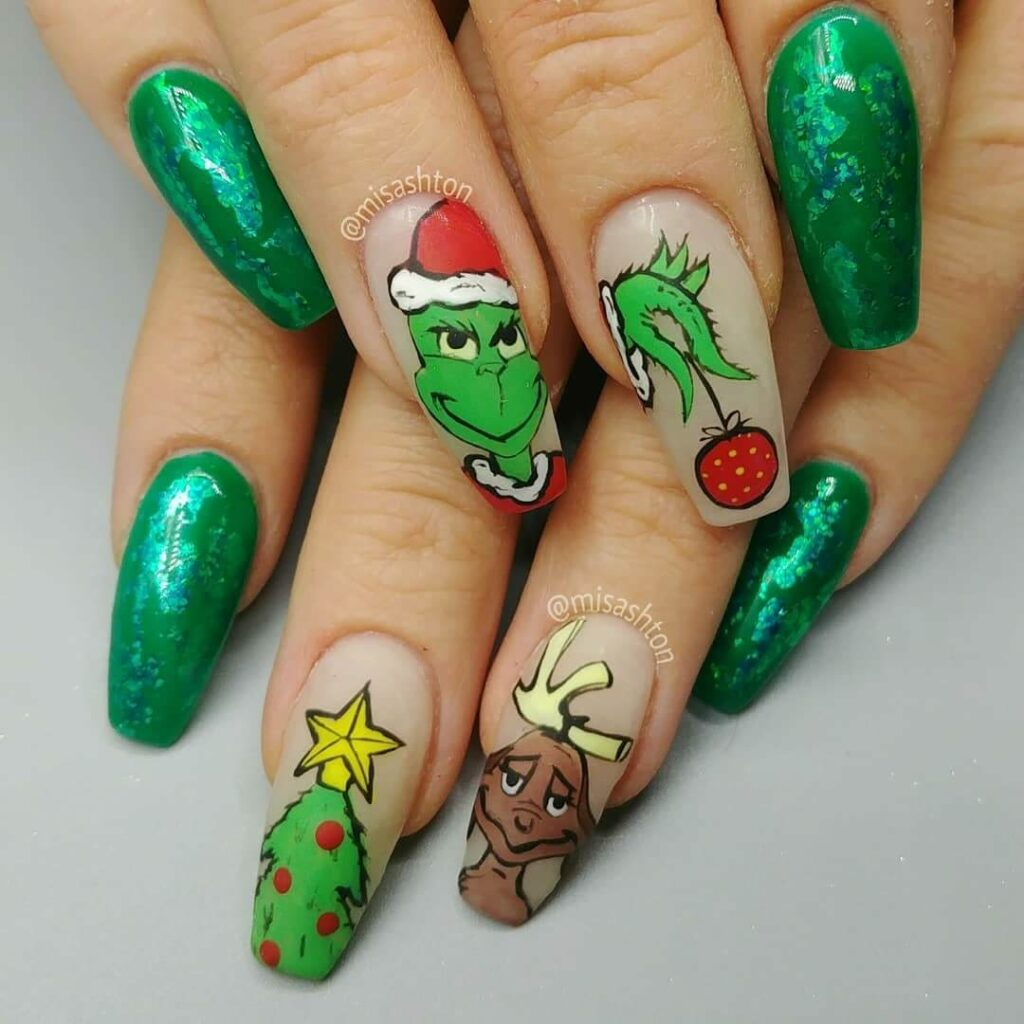 green grinch nails