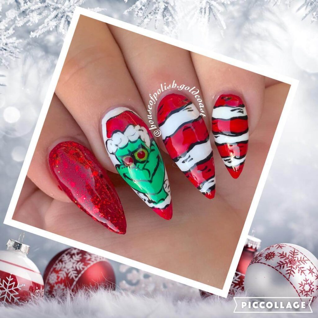 long red grinch nails