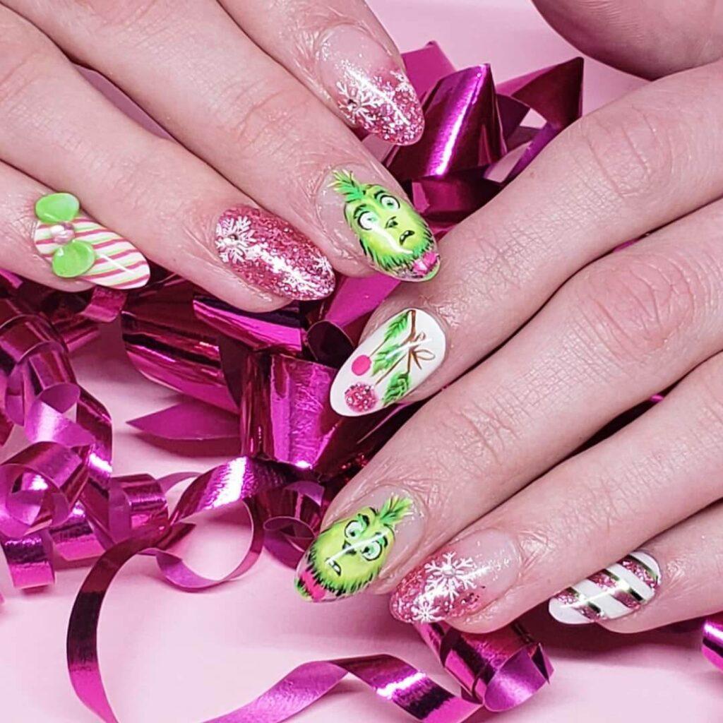 pretty pink grinch nails