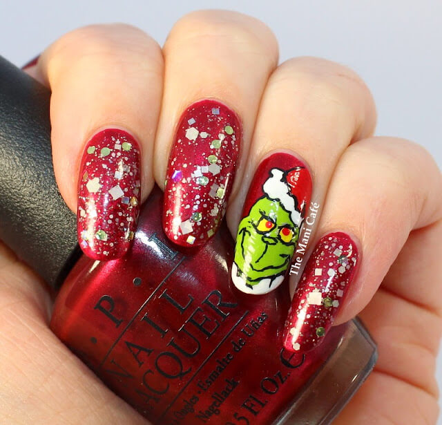 red frosted grinch nails