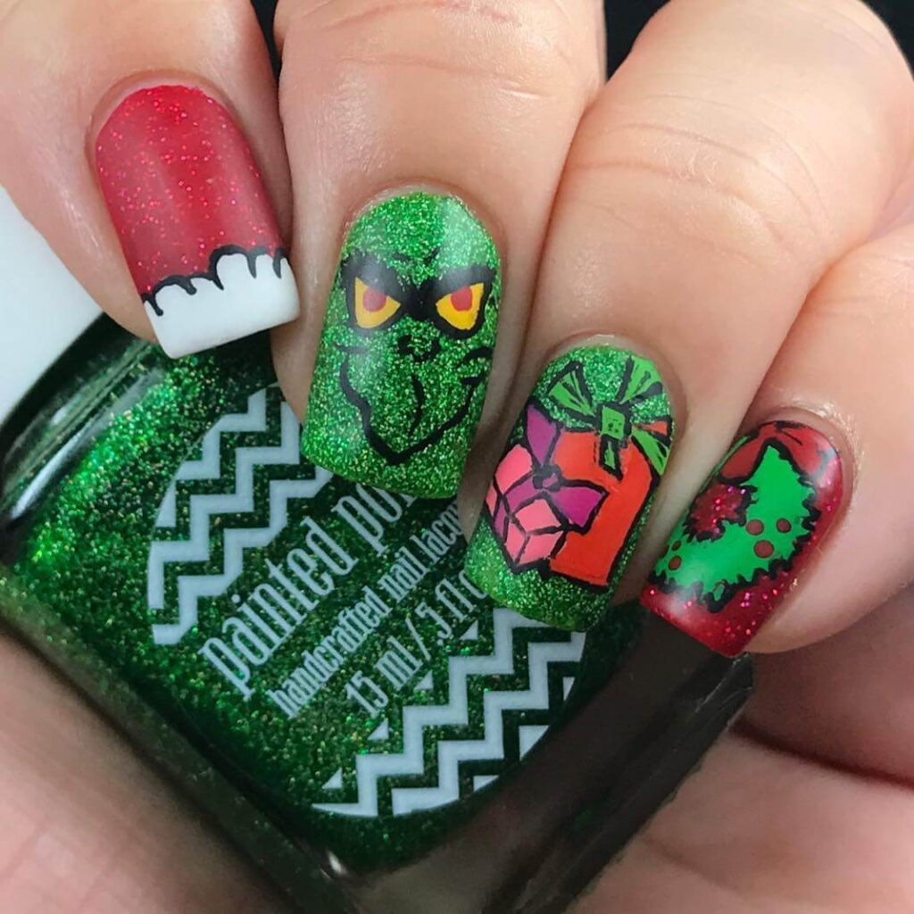 sparkly green grinch nails
