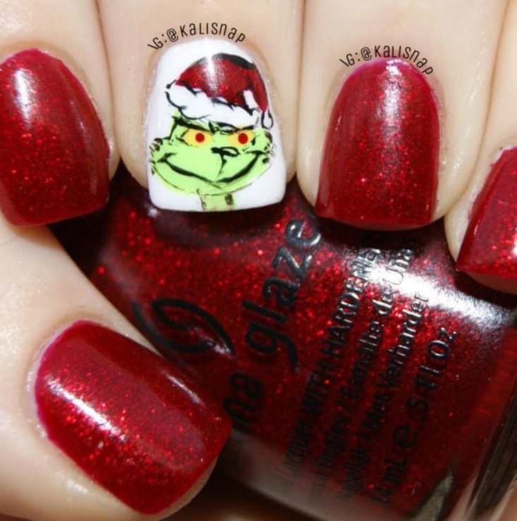 sparkly red grinch nails