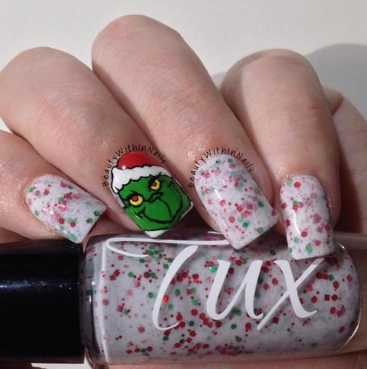 white grinch nails